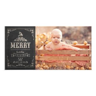 För svart tavlababy för jul kort för foto för fotokort