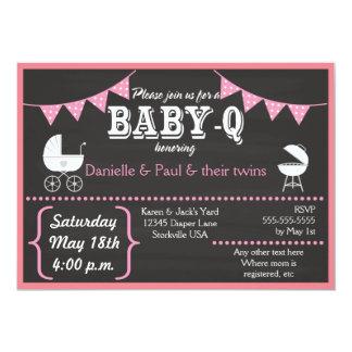 För svart tavlababy shower för Baby-q inbjudningar