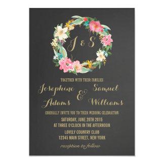 För svart tavlabröllop för blommor inbjudan