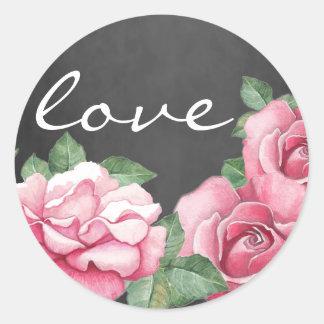 För svart tavlabröllop för vattenfärg rosa runt klistermärke