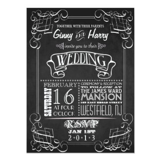 För svart tavlabröllop för vintage inbjudan