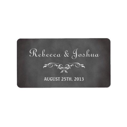 För svart tavlabröllop för vintage romantisk adressetikett