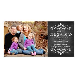 För svart tavlahelgdag för god jul kort för foto fotokort