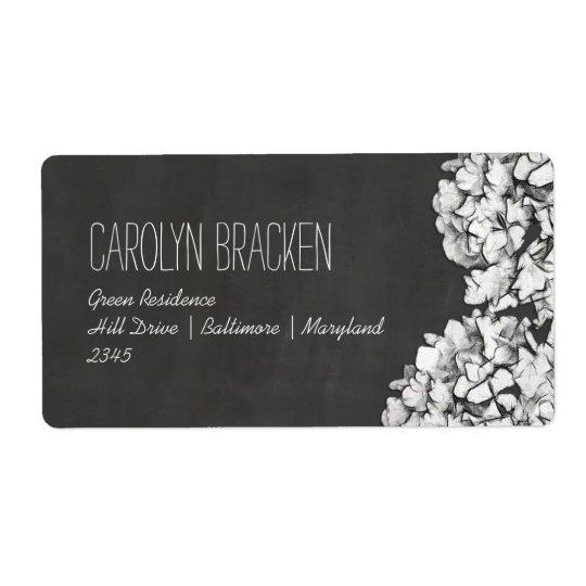 För svart tavlavanlig hortensia för vintage blom- fraktsedel