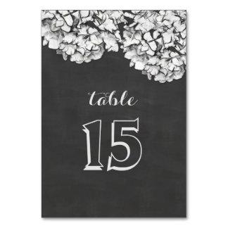 För svart tavlavanlig hortensia för vintage gifta bordsnummer