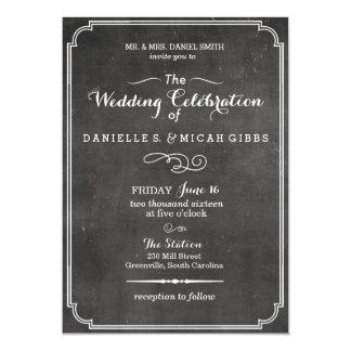 För svart tavlavintage bröllop för art déco 12,7 x 17,8 cm inbjudningskort
