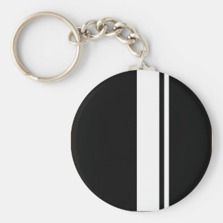 För svart- & vittävling för klassiker Retro randar Nyckelring