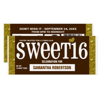 För sweet sixteenparty för godis Bar1 inbjudan