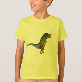 För T-Rex för gulliga ungar gul konst dinosaur T-shirt