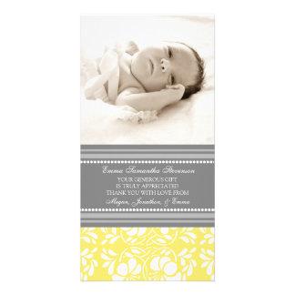 För tackbaby shower för citron gråa kort för foto fotokort
