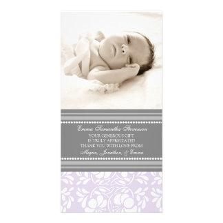 För tackbaby shower för lila gråa kort för foto fotokort
