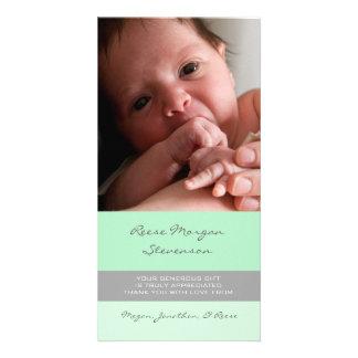 För tackbaby shower för Mint gråa kort för foto Fotokort