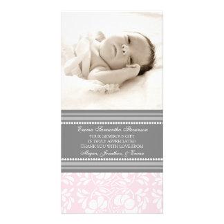 För tackbaby shower för rosor gråa kort för foto fotokort