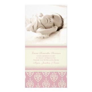 För tackbaby shower för rosor kräm- kort för foto fotokort