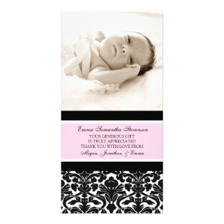 För tackbaby shower för rosor svart kort för foto fotokort
