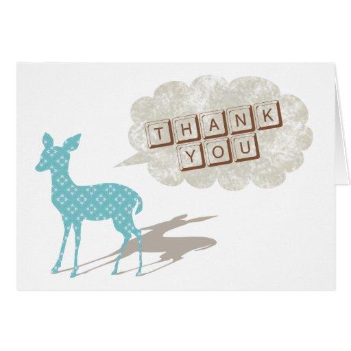 För tackhälsning för blått Bambi vikt kort