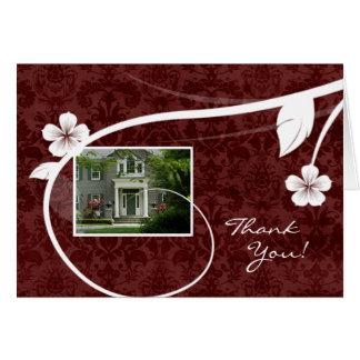 För tackhälsning för fastighet rött hem- kort
