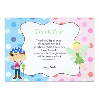 För tackkort för pirat felika rosor för barns 12,7 x 17,8 cm inbjudningskort