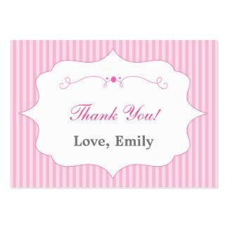 För tackmärkre för randar rosa etikett set av breda visitkort