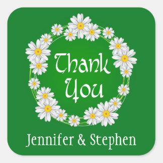 För tackvit för personlig blom- grönt för daisy fyrkantigt klistermärke