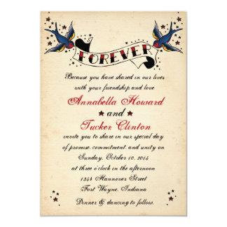 För tatueringbröllop för vintage Rockabilly 12,7 X 17,8 Cm Inbjudningskort