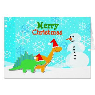 För tecknadDinosaurs för god jul gulligt kort
