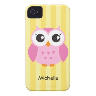 För tecknadgult för gullig förtjusande rosa uggla iPhone 4 Case-Mate fodral