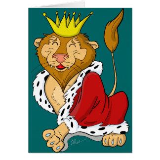 För tecknadhälsning för lycklig kung lejont kort
