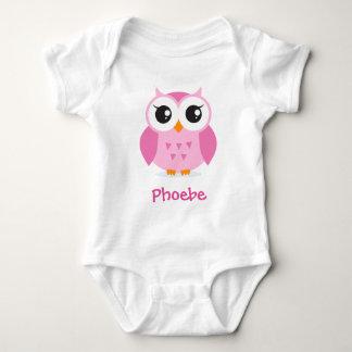 För tecknadpersonlig för gullig rosa uggla djur tee shirts