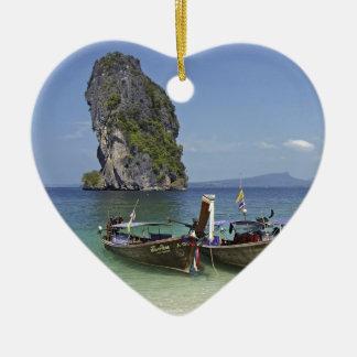 för Thailand för strandPoda ö fartyg lång-svan Hjärtformad Julgransprydnad I Keramik