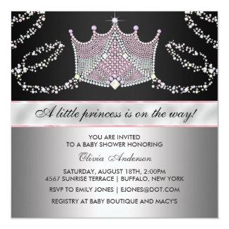 För Tiaraflicka för rosor svart Princess baby Fyrkantigt 13,3 Cm Inbjudningskort