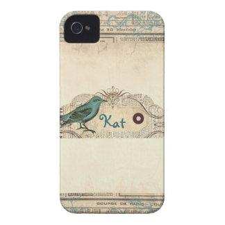 För tidningsfågel för vintage fransk blackberry iPhone 4 case