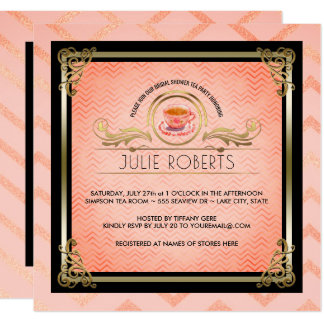För Tiffany för möhippaTeaparty sparrar rosor Fyrkantigt 13,3 Cm Inbjudningskort