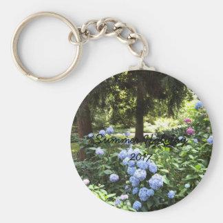 För trädnatur för vanlig hortensia blom- fotografi rund nyckelring