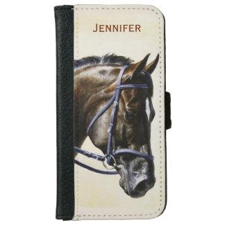 För Trakehner för mörkbruntfjärd häst Dressage iPhone 6/6s Plånboksfodral
