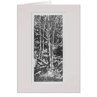 För träsnitthälsning för fyra träd kort