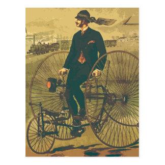För trehjulinggentleman för vintage rolig jätte- vykort