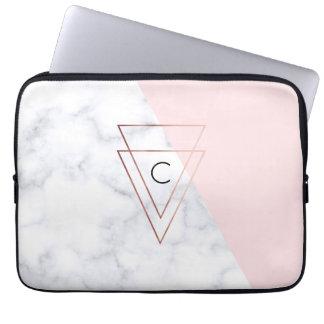 för triangelvit för elegant rosa guld- rosor för laptop fodral