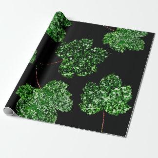 För tropisk botanisk natur gröntsvart för lönnlöv presentpapper