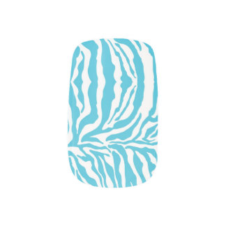 För tryckslyna för sebra djur aqua) nagelkonst