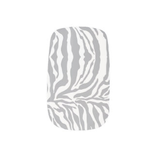 För tryckslyna för sebra djura grå färg) nagel decaler