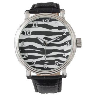 För trycksvart för sebra djurt mönster för randar armbandsur
