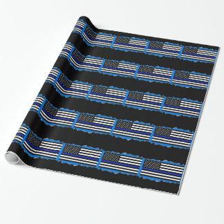 För tunn blått för Look blålinjenflagga för polis Presentpapper