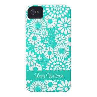 För turkosblackberry bold för vintage blom- fodral Case-Mate iPhone 4 fodral