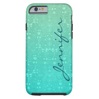 För turkospersonlig för Aquamarine utsmyckad Tough iPhone 6 Skal