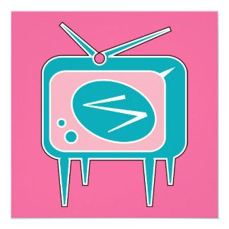 För TVtelevision för vintage Retro uppsättning Fyrkantigt 13,3 Cm Inbjudningskort