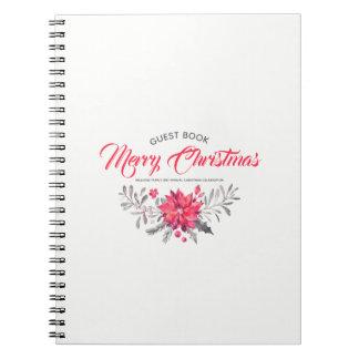 För typografiblommigt för god jul modern bukett anteckningsbok