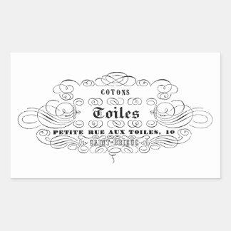 för typografibomull för vintage franska toiles rektangulärt klistermärke