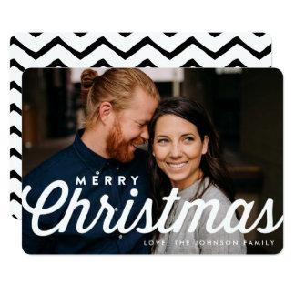 För typografifoto för god jul stilfullt kort 12,7 x 17,8 cm inbjudningskort