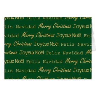 För typografigrönt för god jul Posh mönster Hälsningskort